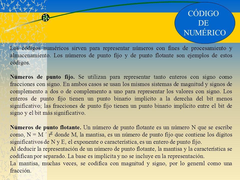 CÓDIGO DE NUMÉRICO Los códigos numéricos sirven para representar números con fines de procesamiento y almacenamiento. Los números de punto fijo y de p