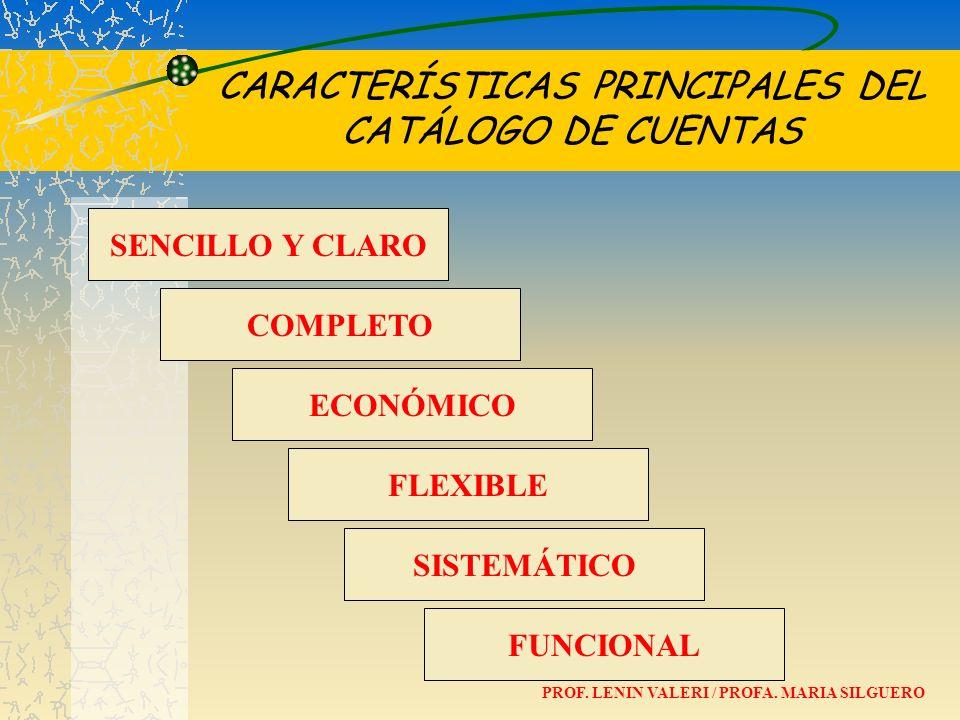 CARACTERÍSTICAS PRINCIPALES DEL CATÁLOGO DE CUENTAS COMPLETO ECONÓMICO FLEXIBLE SENCILLO Y CLARO SISTEMÁTICO FUNCIONAL PROF. LENIN VALERI / PROFA. MAR