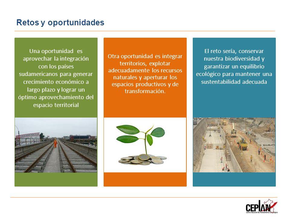 Retos y oportunidades Una oportunidad es aprovechar la integración con los países sudamericanos para generar crecimiento económico a largo plazo y log