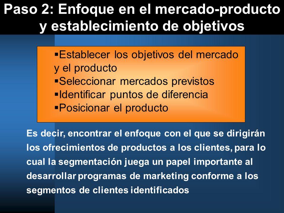 Paso 2: Enfoque en el mercado-producto y establecimiento de objetivos Es decir, encontrar el enfoque con el que se dirigirán los ofrecimientos de prod