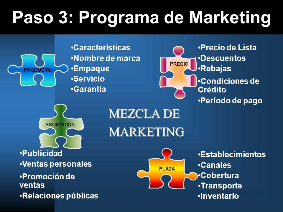 Paso 3: Programa de Marketing PRECIO PRODUCTO PLAZAPROMOCIÓN Características Nombre de marca Empaque Servicio Garantía Precio de Lista Descuentos Reba