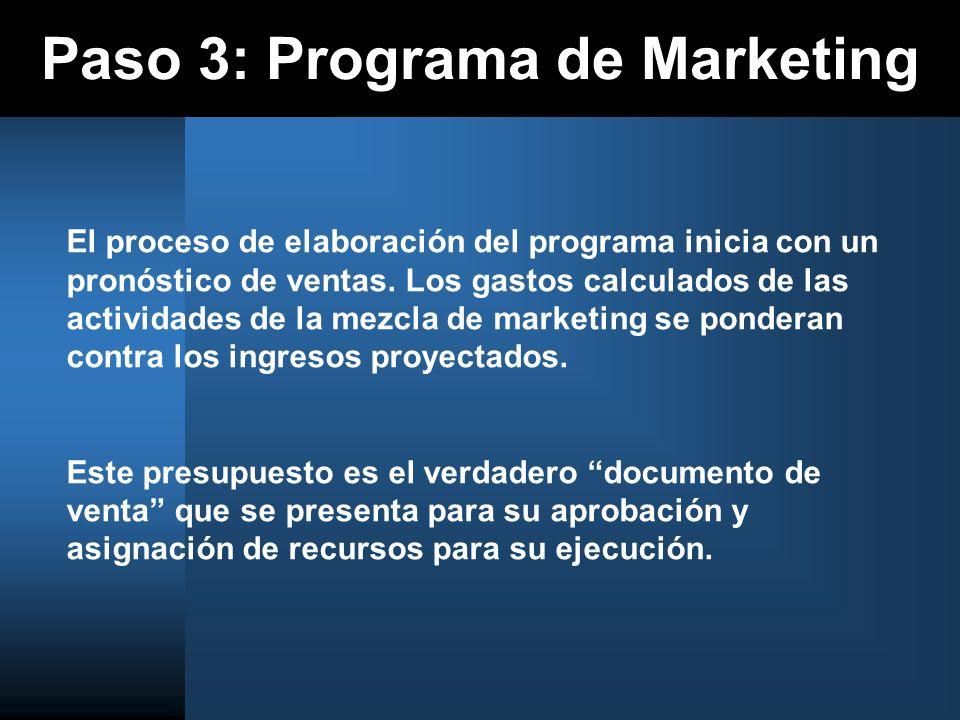Paso 3: Programa de Marketing El proceso de elaboración del programa inicia con un pronóstico de ventas. Los gastos calculados de las actividades de l