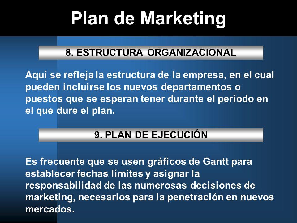 Plan de Marketing 8. ESTRUCTURA ORGANIZACIONAL Aquí se refleja la estructura de la empresa, en el cual pueden incluirse los nuevos departamentos o pue