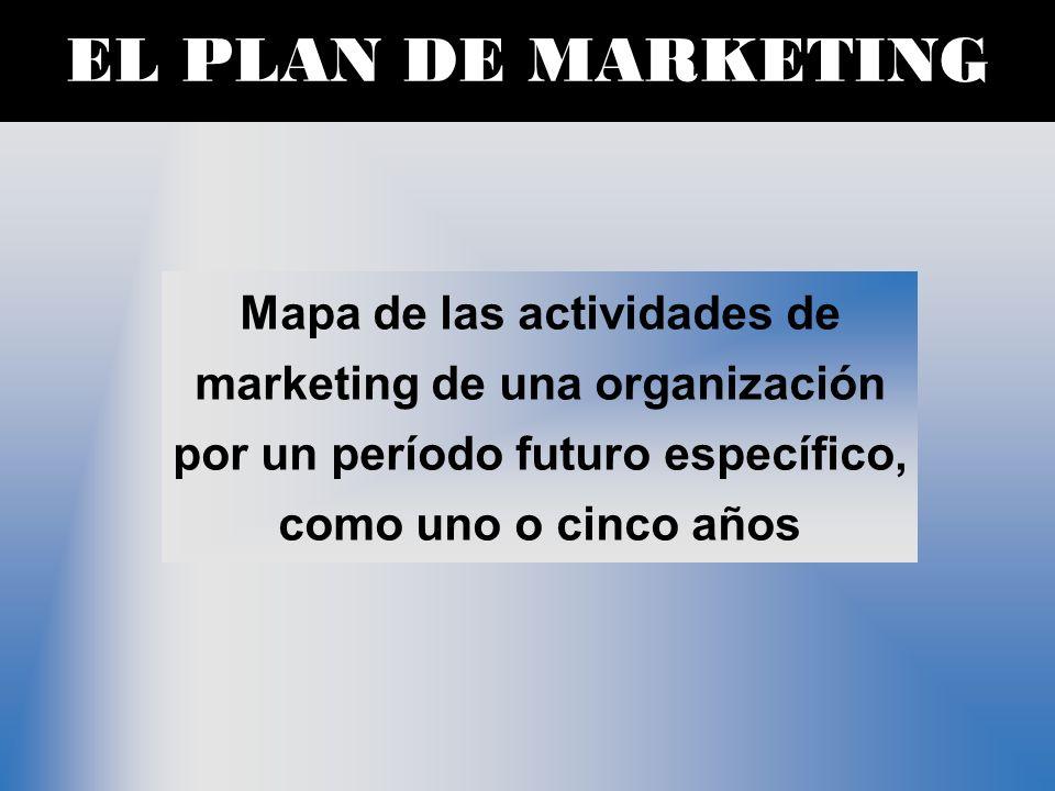 EL PLAN DE MARKETING Mapa de las actividades de marketing de una organización por un período futuro específico, como uno o cinco años