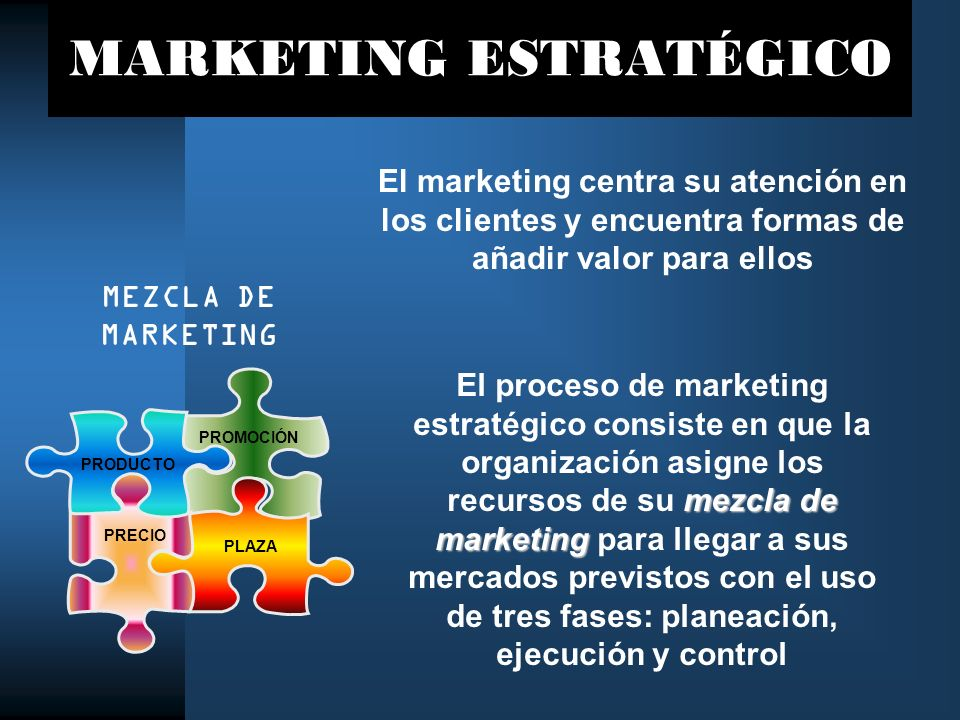 MARKETING ESTRATÉGICO mezcla de marketing El proceso de marketing estratégico consiste en que la organización asigne los recursos de su mezcla de mark