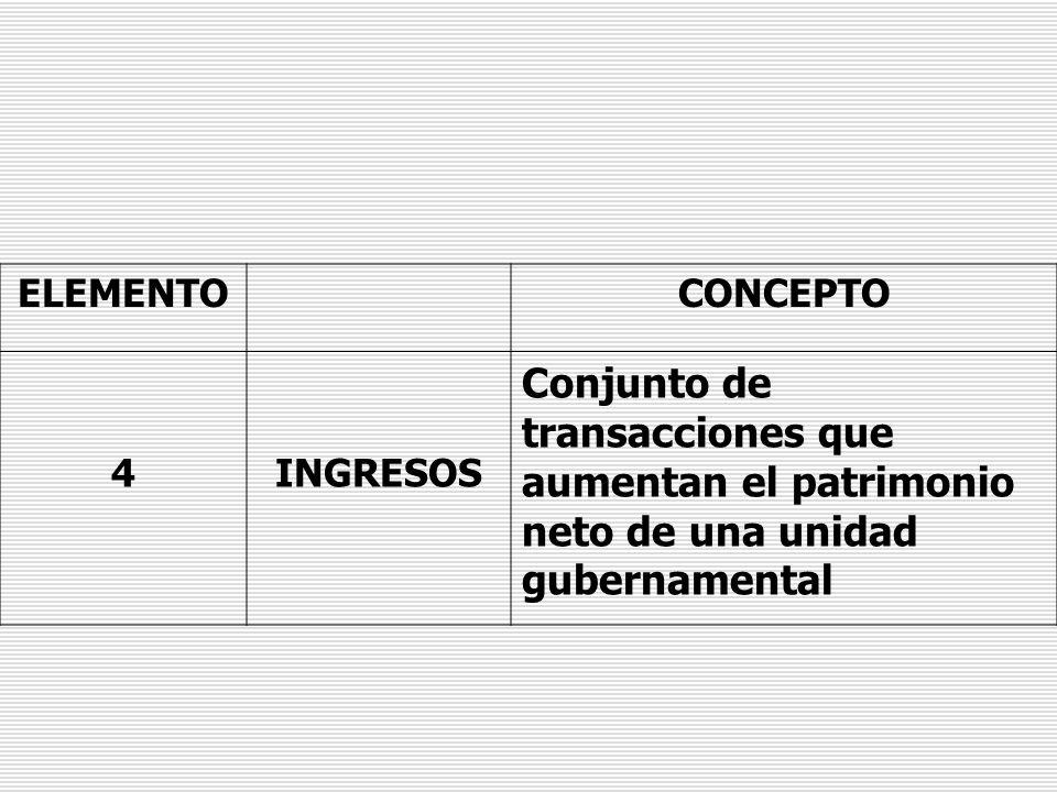 ELEMENTOCONCEPTO 4INGRESOS Conjunto de transacciones que aumentan el patrimonio neto de una unidad gubernamental