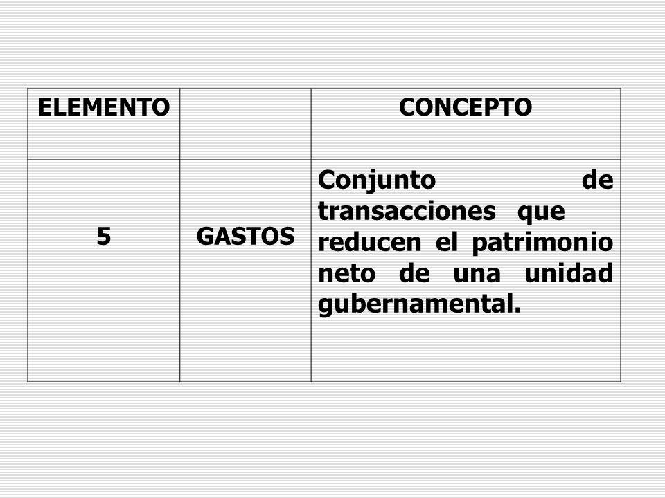 ELEMENTOCONCEPTO 5GASTOS Conjunto de transacciones que reducen el patrimonio neto de una unidad gubernamental.