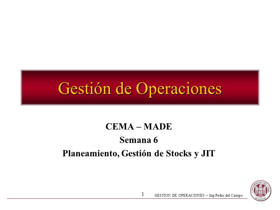 GESTION DE OPERACIONES – Ing Pedro del Campo 1 Gestión de Operaciones CEMA – MADE Semana 6 Planeamiento, Gestión de Stocks y JIT
