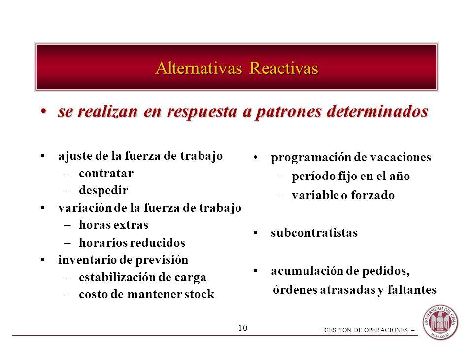 - GESTION DE OPERACIONES – 10 Alternativas Reactivas se realizan en respuesta a patrones determinadosse realizan en respuesta a patrones determinados