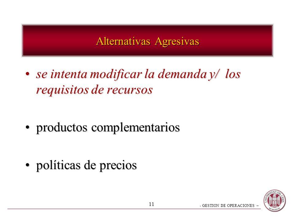 - GESTION DE OPERACIONES – 11 Alternativas Agresivas se intenta modificar la demanda y/ los requisitos de recursosse intenta modificar la demanda y/ l