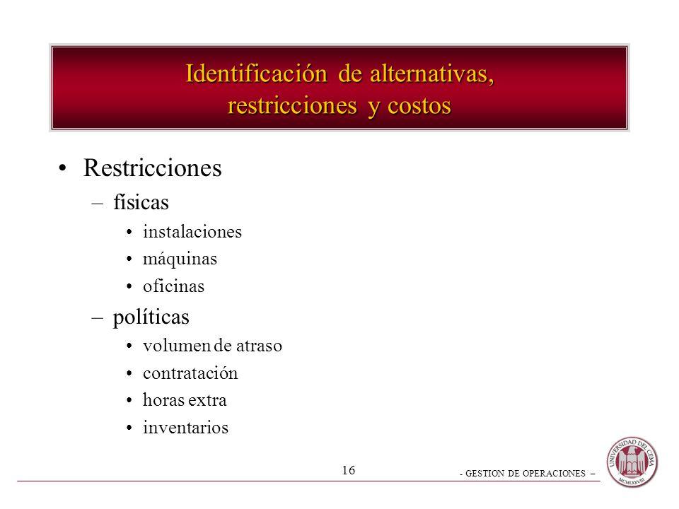 - GESTION DE OPERACIONES – 16 Identificación de alternativas, restricciones y costos Restricciones –físicas instalaciones máquinas oficinas –políticas