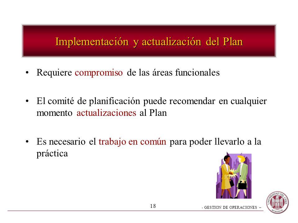 - GESTION DE OPERACIONES – 18 Implementación y actualización del Plan Requiere compromiso de las áreas funcionales El comité de planificación puede re