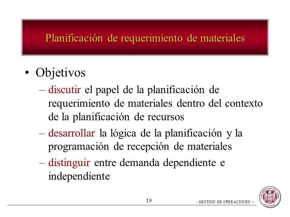 - GESTION DE OPERACIONES – 19 Planificación de requerimiento de materiales Objetivos –discutir el papel de la planificación de requerimiento de materi