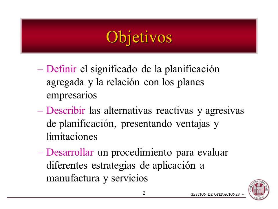 - GESTION DE OPERACIONES – 2 Objetivos –Definir el significado de la planificación agregada y la relación con los planes empresarios –Describir las al