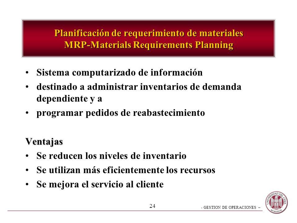 - GESTION DE OPERACIONES – 24 Planificación de requerimiento de materiales MRP-Materials Requirements Planning Sistema computarizado de información de