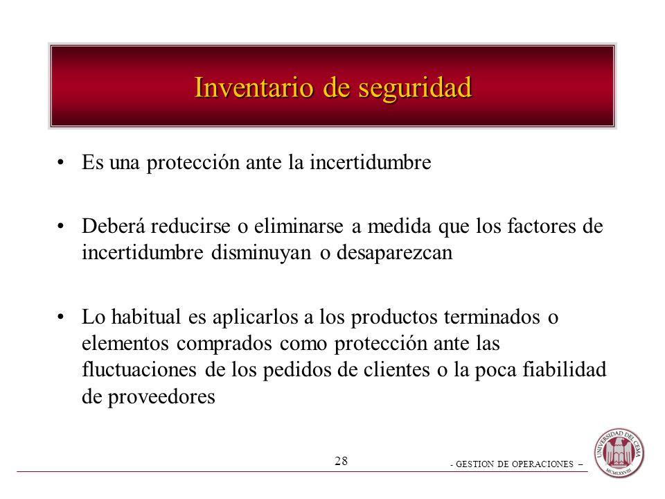 - GESTION DE OPERACIONES – 28 Inventario de seguridad Es una protección ante la incertidumbre Deberá reducirse o eliminarse a medida que los factores