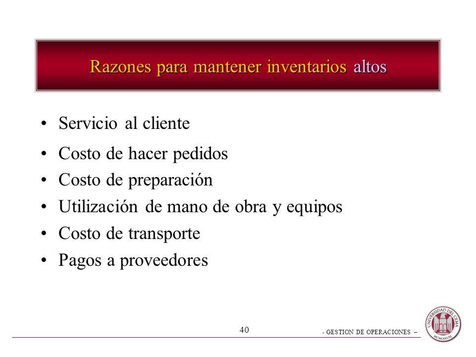 - GESTION DE OPERACIONES – 40 Servicio al cliente Costo de hacer pedidos Costo de preparación Utilización de mano de obra y equipos Costo de transport