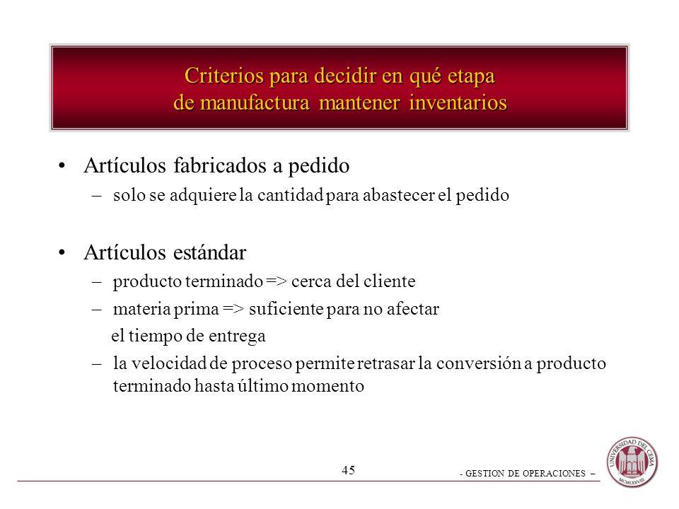 - GESTION DE OPERACIONES – 45 Criterios para decidir en qué etapa de manufactura mantener inventarios Artículos fabricados a pedido –solo se adquiere