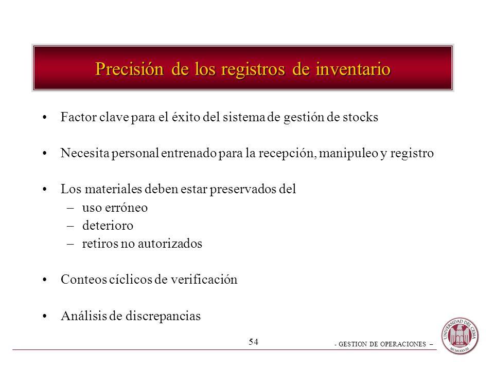 - GESTION DE OPERACIONES – 54 Precisión de los registros de inventario Factor clave para el éxito del sistema de gestión de stocks Necesita personal e