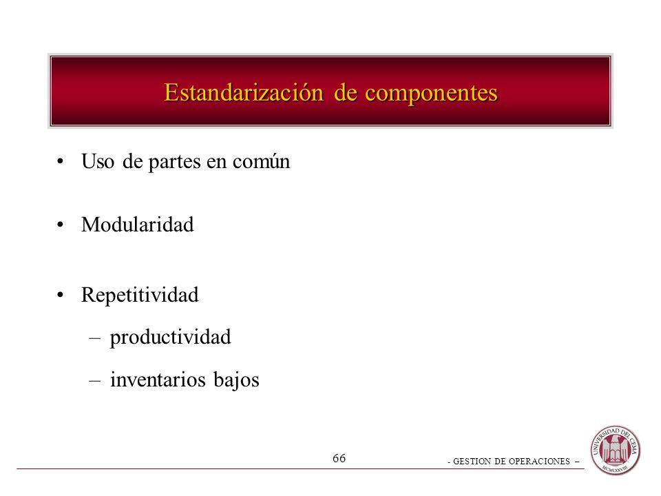 - GESTION DE OPERACIONES – 66 Estandarización de componentes Uso de partes en común Modularidad Repetitividad –productividad –inventarios bajos