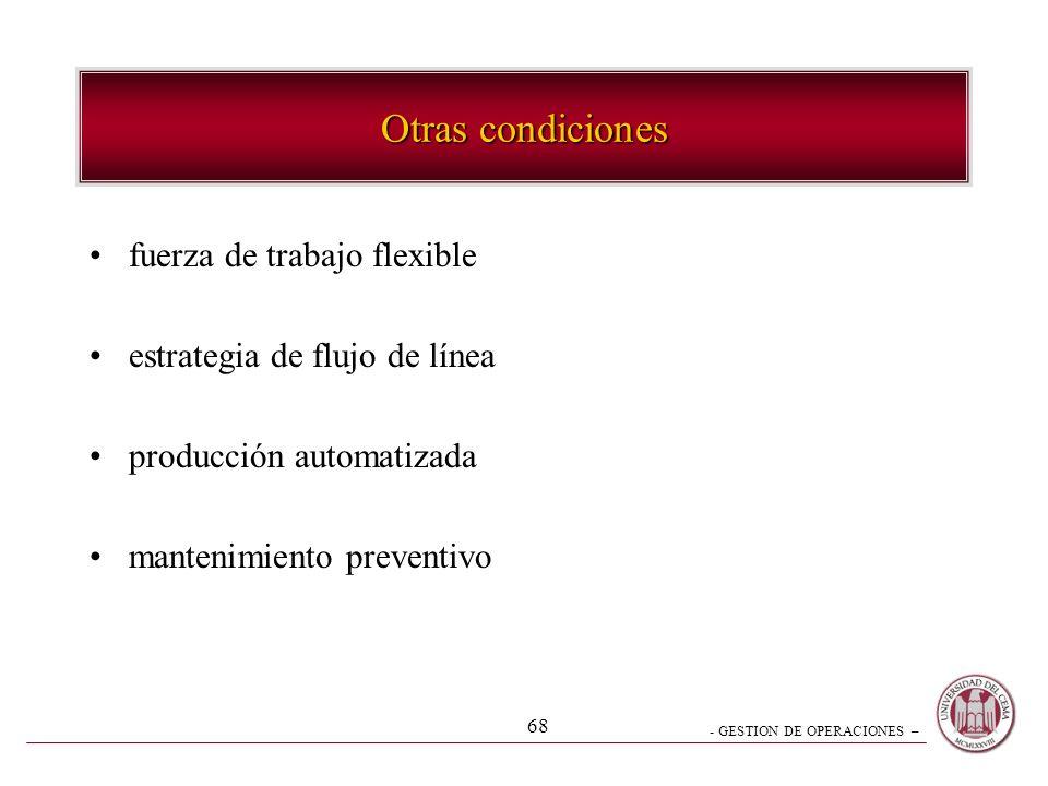 - GESTION DE OPERACIONES – 68 Otras condiciones fuerza de trabajo flexible estrategia de flujo de línea producción automatizada mantenimiento preventi