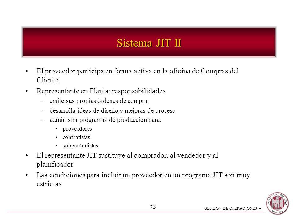 - GESTION DE OPERACIONES – 73 Sistema JIT II El proveedor participa en forma activa en la oficina de Compras del Cliente Representante en Planta: resp