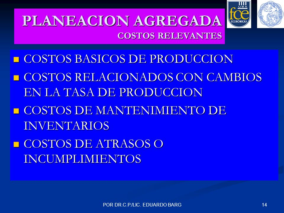 14POR DR.C.P./LIC. EDUARDO BARG PLANEACION AGREGADA COSTOS RELEVANTES COSTOS BASICOS DE PRODUCCION COSTOS BASICOS DE PRODUCCION COSTOS RELACIONADOS CO