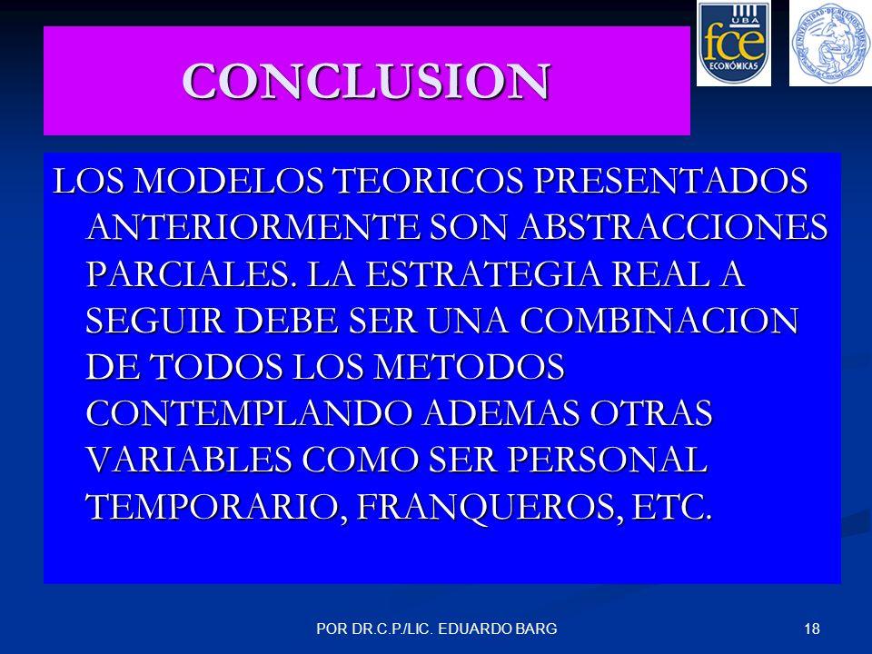 18POR DR.C.P./LIC. EDUARDO BARG CONCLUSION LOS MODELOS TEORICOS PRESENTADOS ANTERIORMENTE SON ABSTRACCIONES PARCIALES. LA ESTRATEGIA REAL A SEGUIR DEB
