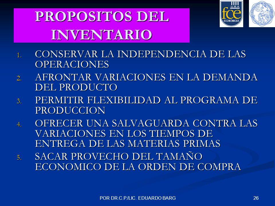 26POR DR.C.P./LIC. EDUARDO BARG PROPOSITOS DEL INVENTARIO 1. CONSERVAR LA INDEPENDENCIA DE LAS OPERACIONES 2. AFRONTAR VARIACIONES EN LA DEMANDA DEL P