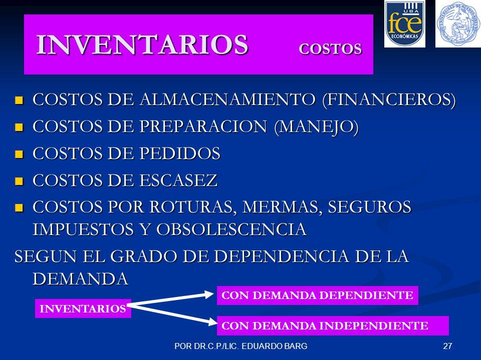 27POR DR.C.P./LIC. EDUARDO BARG INVENTARIOS COSTOS COSTOS DE ALMACENAMIENTO (FINANCIEROS) COSTOS DE ALMACENAMIENTO (FINANCIEROS) COSTOS DE PREPARACION