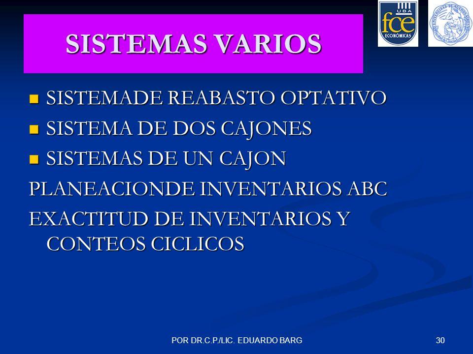 30POR DR.C.P./LIC. EDUARDO BARG SISTEMAS VARIOS SISTEMADE REABASTO OPTATIVO SISTEMADE REABASTO OPTATIVO SISTEMA DE DOS CAJONES SISTEMA DE DOS CAJONES