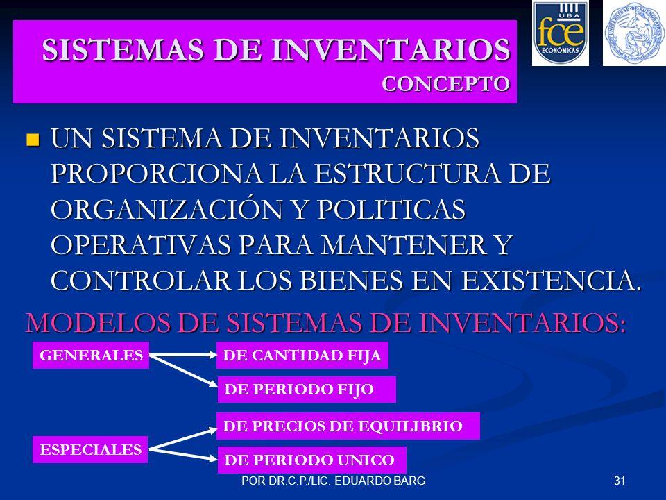 31POR DR.C.P./LIC. EDUARDO BARG SISTEMAS DE INVENTARIOS CONCEPTO UN SISTEMA DE INVENTARIOS PROPORCIONA LA ESTRUCTURA DE ORGANIZACIÓN Y POLITICAS OPERA