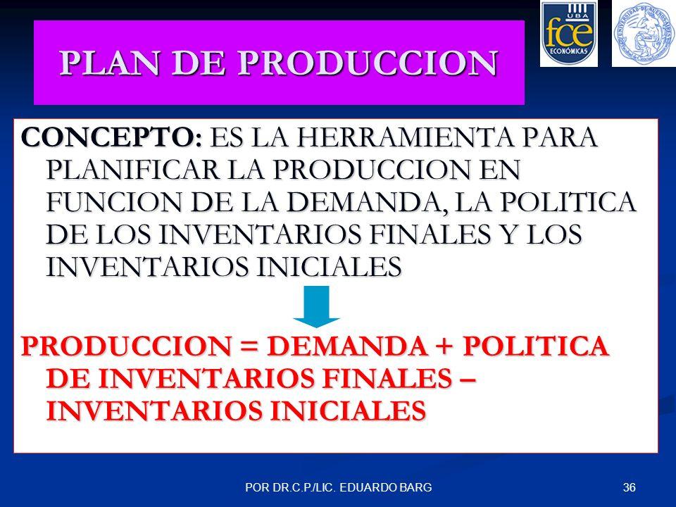 36POR DR.C.P./LIC. EDUARDO BARG PLAN DE PRODUCCION CONCEPTO: ES LA HERRAMIENTA PARA PLANIFICAR LA PRODUCCION EN FUNCION DE LA DEMANDA, LA POLITICA DE