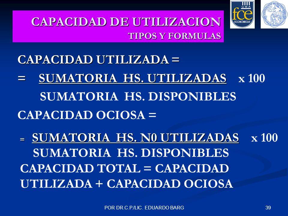 39POR DR.C.P./LIC. EDUARDO BARG CAPACIDAD DE UTILIZACION TIPOS Y FORMULAS CAPACIDAD UTILIZADA = = SUMATORIA HS. UTILIZADAS = SUMATORIA HS. UTILIZADAS