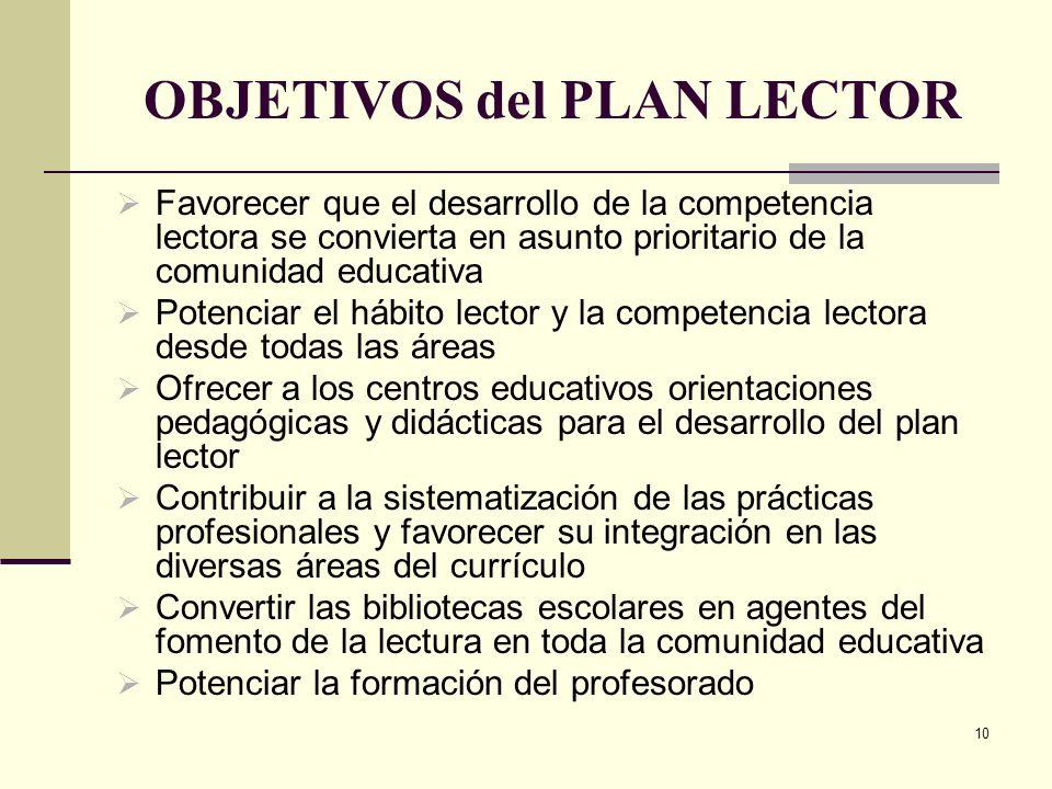 10 OBJETIVOS del PLAN LECTOR Favorecer que el desarrollo de la competencia lectora se convierta en asunto prioritario de la comunidad educativa Potenc