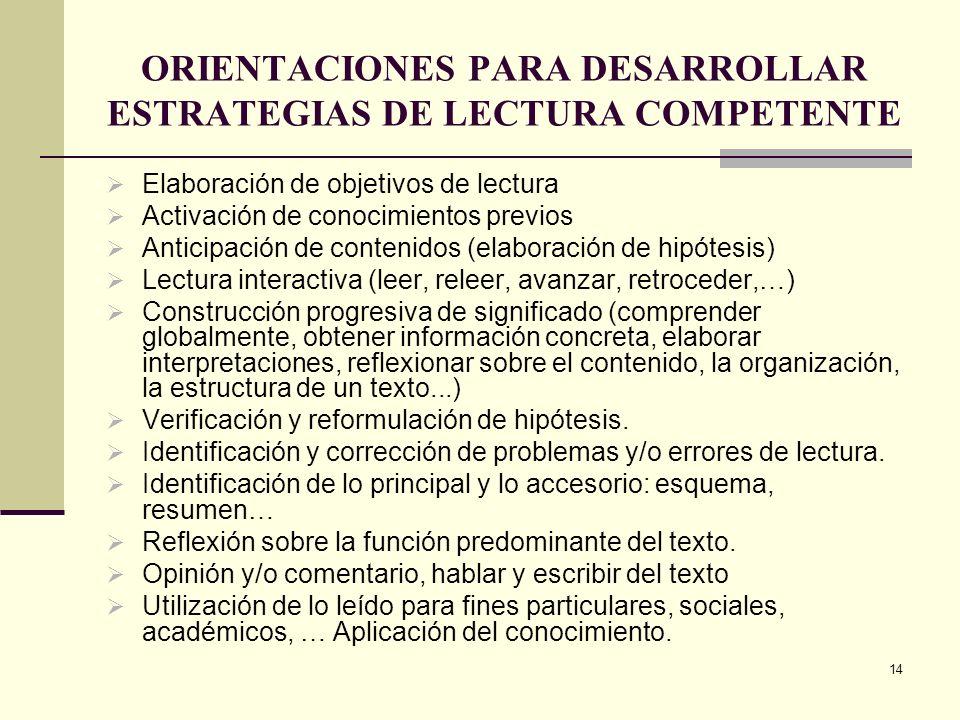 14 ORIENTACIONES PARA DESARROLLAR ESTRATEGIAS DE LECTURA COMPETENTE Elaboración de objetivos de lectura Activación de conocimientos previos Anticipaci