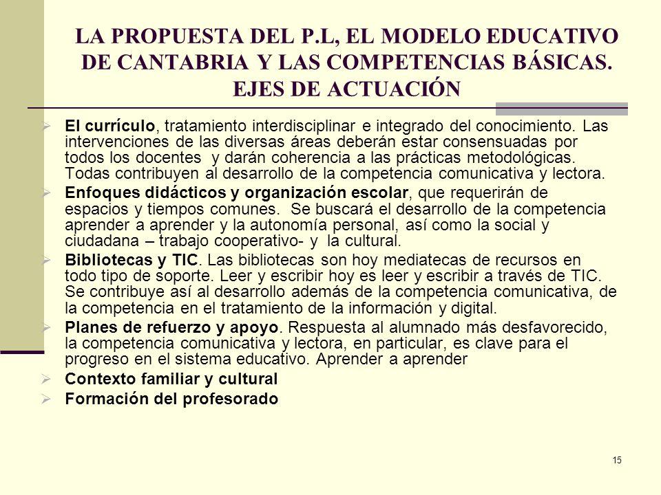15 LA PROPUESTA DEL P.L, EL MODELO EDUCATIVO DE CANTABRIA Y LAS COMPETENCIAS BÁSICAS. EJES DE ACTUACIÓN El currículo, tratamiento interdisciplinar e i