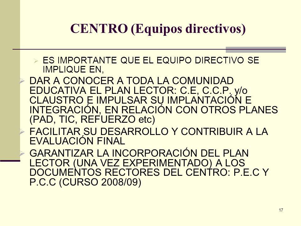 17 CENTRO (Equipos directivos) ES IMPORTANTE QUE EL EQUIPO DIRECTIVO SE IMPLIQUE EN, DAR A CONOCER A TODA LA COMUNIDAD EDUCATIVA EL PLAN LECTOR: C.E,