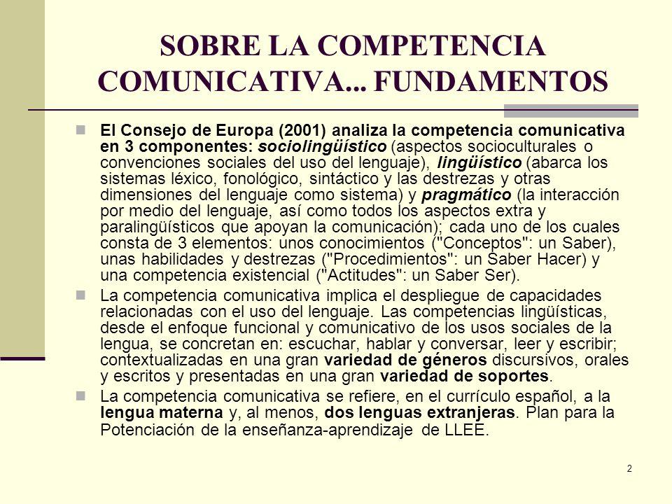 2 SOBRE LA COMPETENCIA COMUNICATIVA... FUNDAMENTOS El Consejo de Europa (2001) analiza la competencia comunicativa en 3 componentes: sociolingüístico