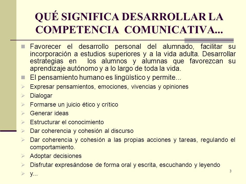 3 QUÉ SIGNIFICA DESARROLLAR LA COMPETENCIA COMUNICATIVA... Favorecer el desarrollo personal del alumnado, facilitar su incorporación a estudios superi