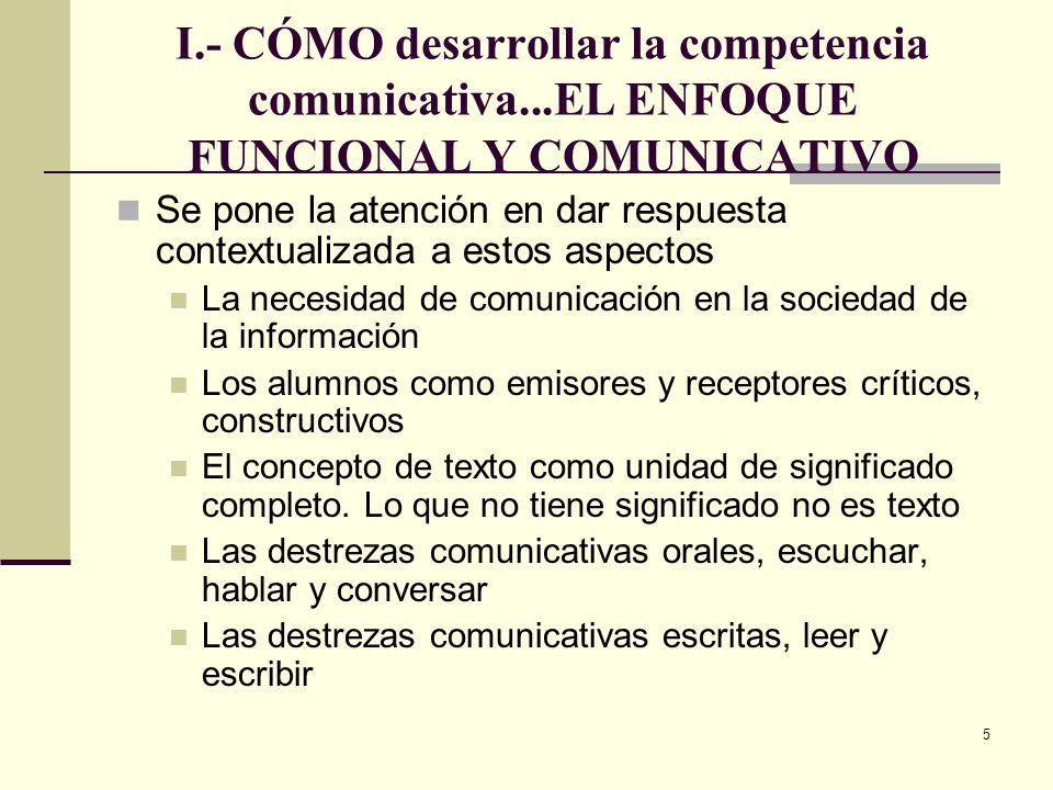5 I.- CÓMO desarrollar la competencia comunicativa...EL ENFOQUE FUNCIONAL Y COMUNICATIVO Se pone la atención en dar respuesta contextualizada a estos