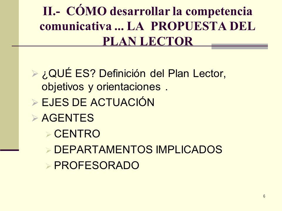 6 II.- CÓMO desarrollar la competencia comunicativa... LA PROPUESTA DEL PLAN LECTOR ¿QUÉ ES? Definición del Plan Lector, objetivos y orientaciones. EJ