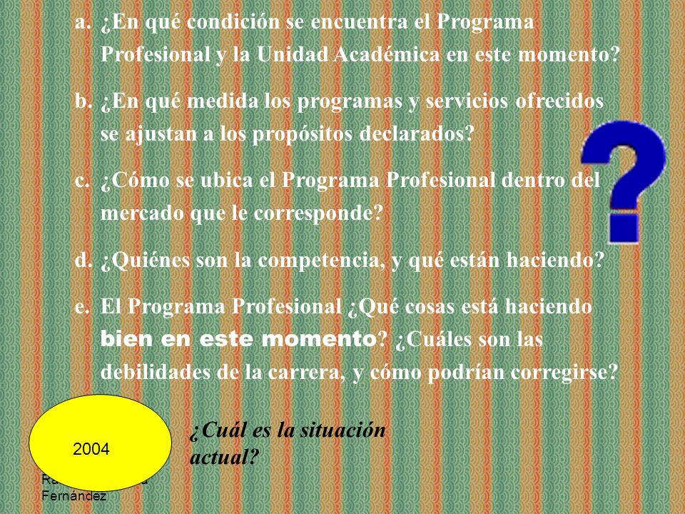 Ramón R. Abarca Fernández ¿Cuál es la situación actual? a.¿En qué condición se encuentra el Programa Profesional y la Unidad Académica en este momento