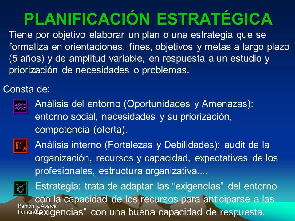 Ramón R. Abarca Fernández PLANIFICACIÓN ESTRATÉGICA Consta de: a.Análisis del entorno (Oportunidades y Amenazas): entorno social, necesidades y su pri