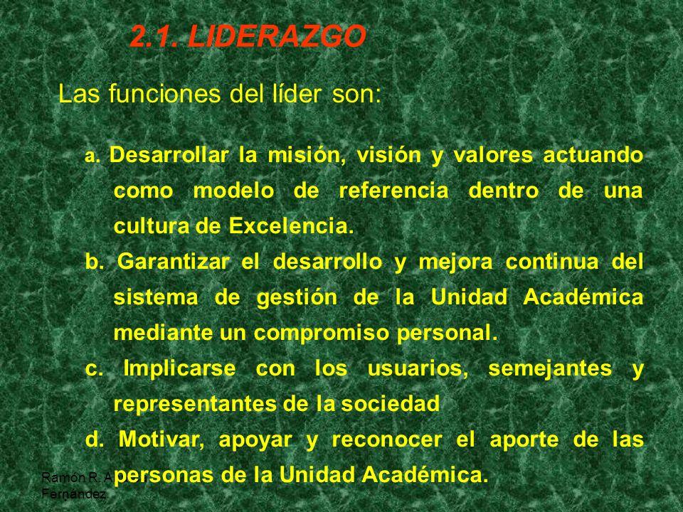 Ramón R. Abarca Fernández 2.1. LIDERAZGO a. Desarrollar la misión, visión y valores actuando como modelo de referencia dentro de una cultura de Excele