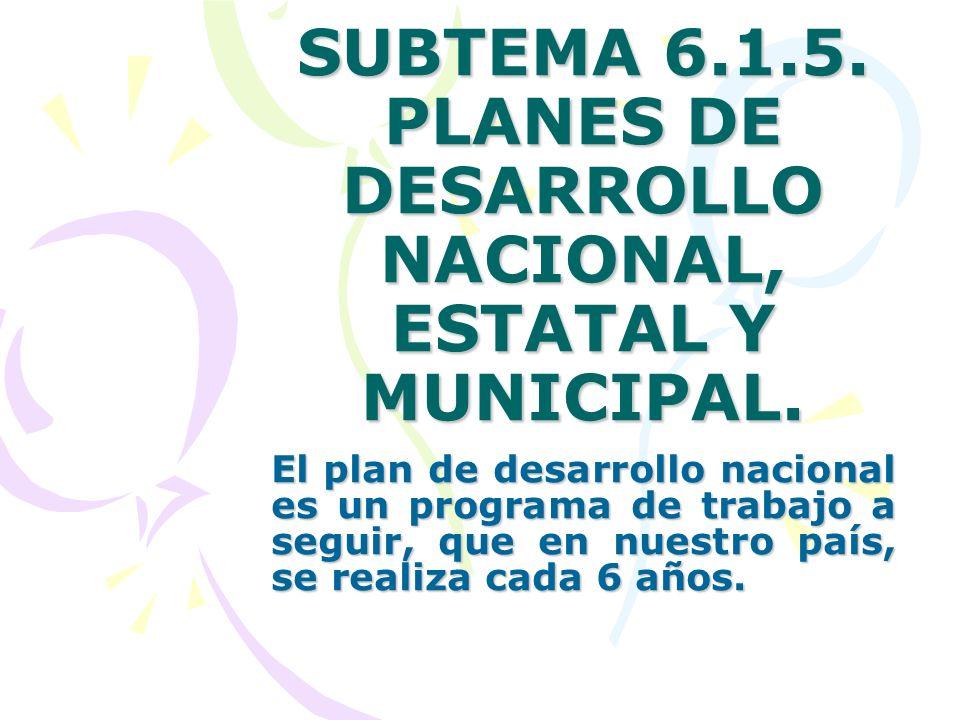 SUBTEMA 6.1.5. PLANES DE DESARROLLO NACIONAL, ESTATAL Y MUNICIPAL. El plan de desarrollo nacional es un programa de trabajo a seguir, que en nuestro p