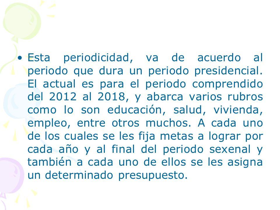 Esta periodicidad, va de acuerdo al periodo que dura un periodo presidencial. El actual es para el periodo comprendido del 2012 al 2018, y abarca vari