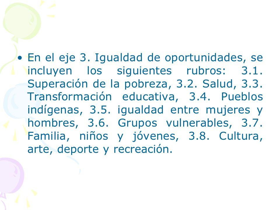 En el eje 3. Igualdad de oportunidades, se incluyen los siguientes rubros: 3.1. Superación de la pobreza, 3.2. Salud, 3.3. Transformación educativa, 3