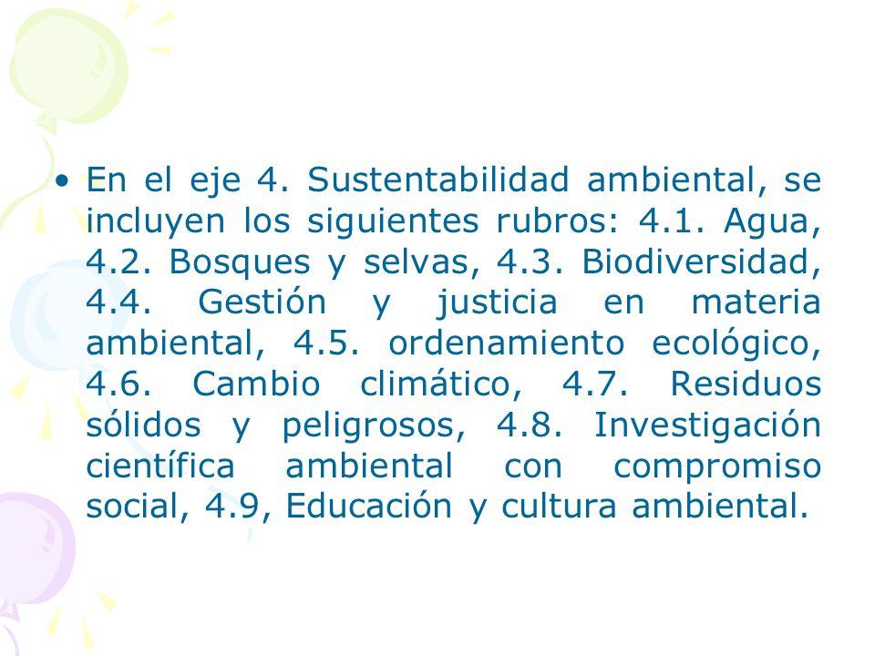 En el eje 4. Sustentabilidad ambiental, se incluyen los siguientes rubros: 4.1. Agua, 4.2. Bosques y selvas, 4.3. Biodiversidad, 4.4. Gestión y justic