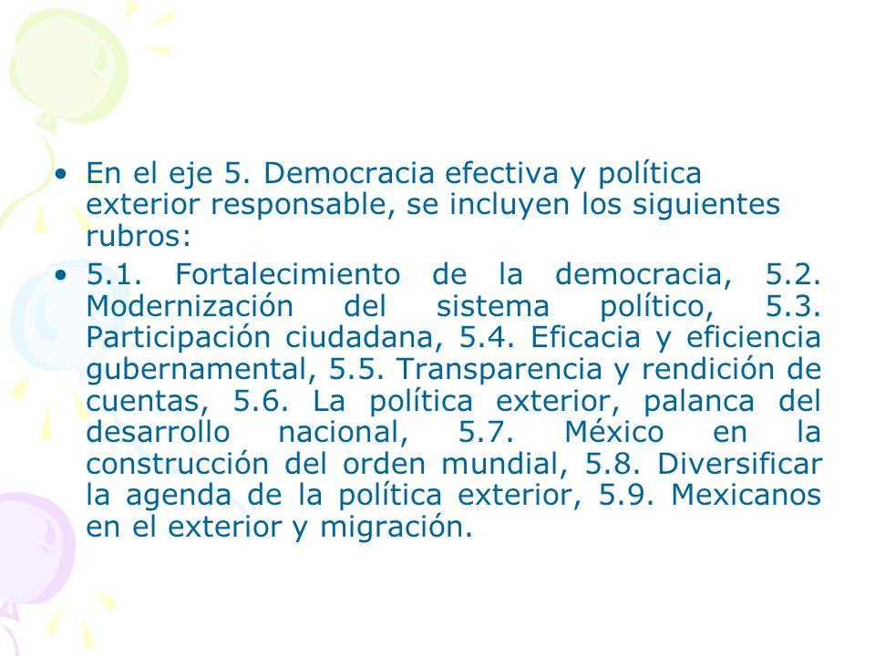 En el eje 5. Democracia efectiva y política exterior responsable, se incluyen los siguientes rubros: 5.1. Fortalecimiento de la democracia, 5.2. Moder